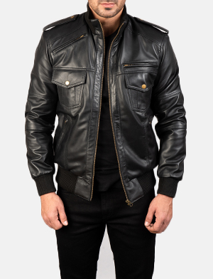 Mens Agent Shadow Black Leather Bomber Jacket
