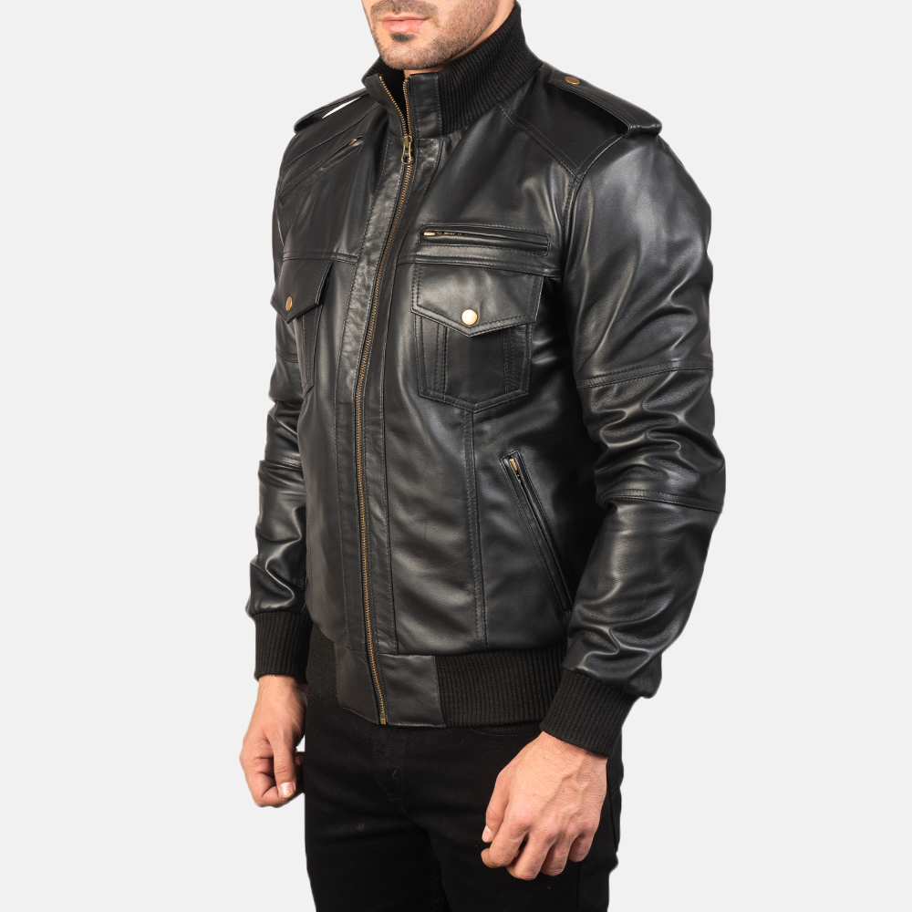 Mens Agent Shadow Black Leather Bomber Jacket 2
