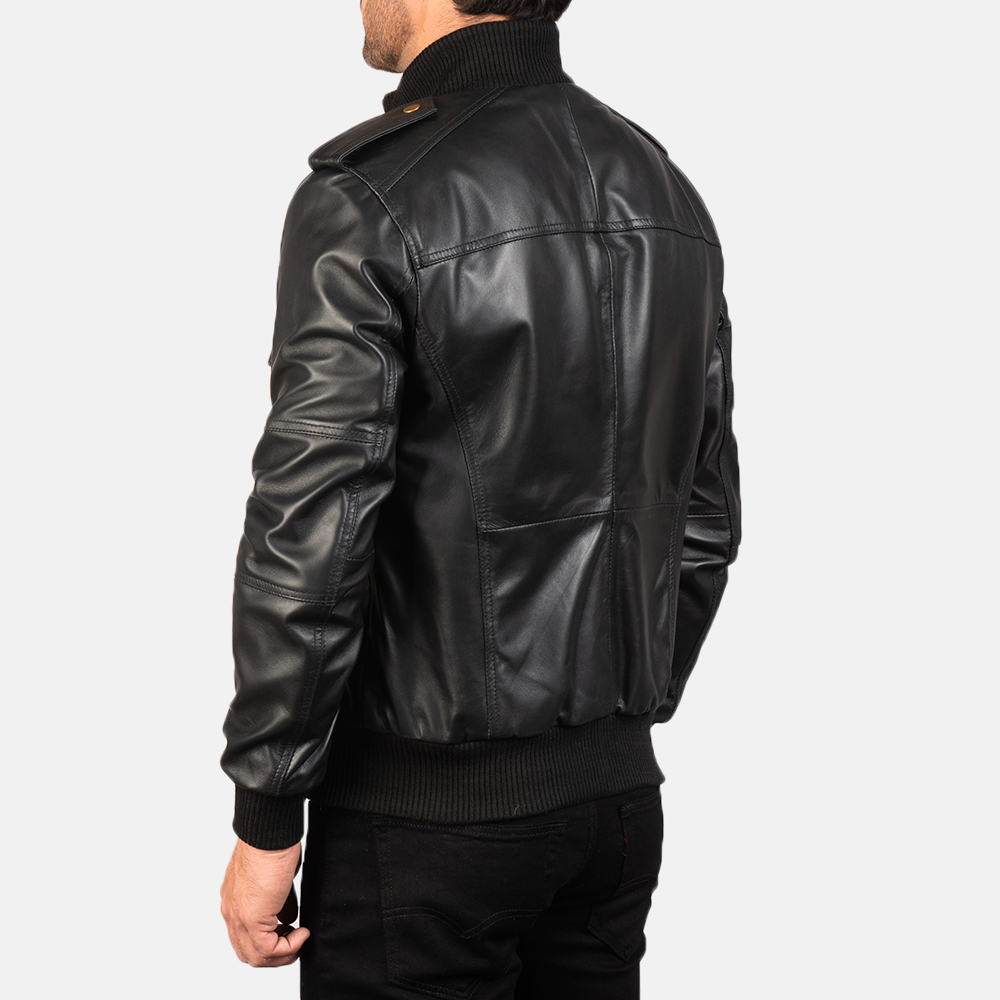 Mens Agent Shadow Black Leather Bomber Jacket 5