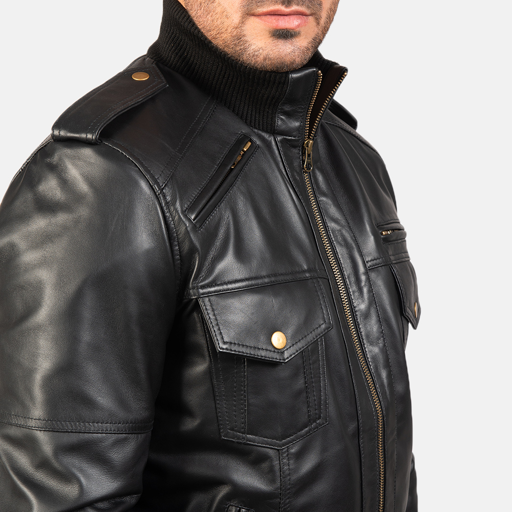 Mens Agent Shadow Black Leather Bomber Jacket 6