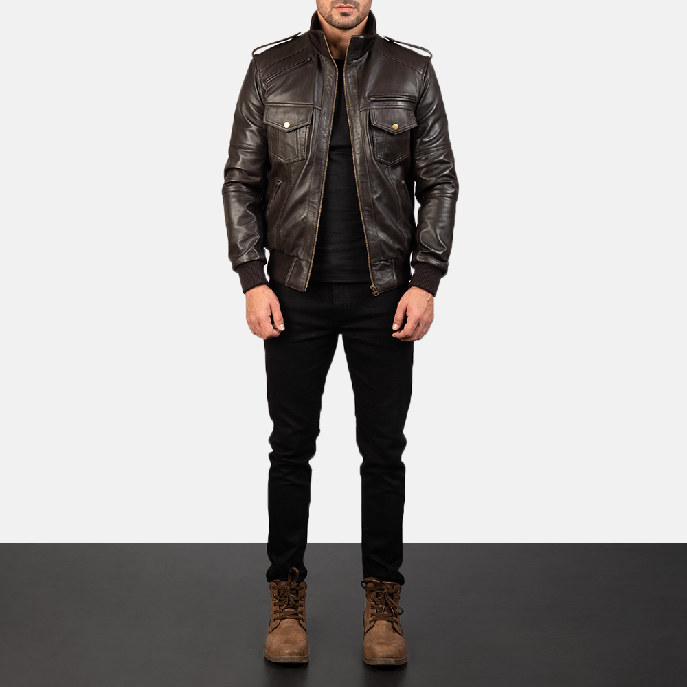 Men's Agent Shadow Brown Leather Bomber Jacket 1