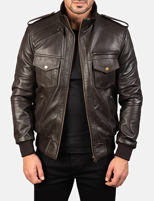 Men's Agent Shadow Brown Leather Bomber Jacket