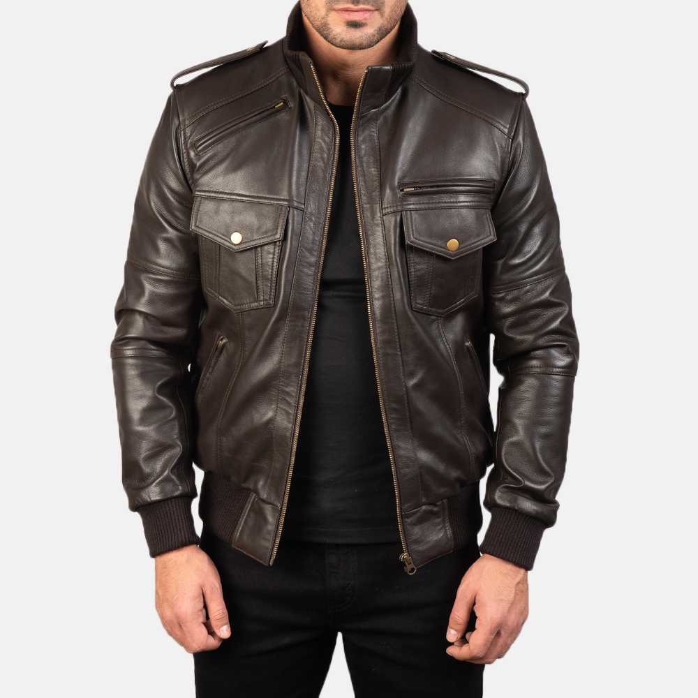 Men's Agent Shadow Brown Leather Bomber Jacket 3