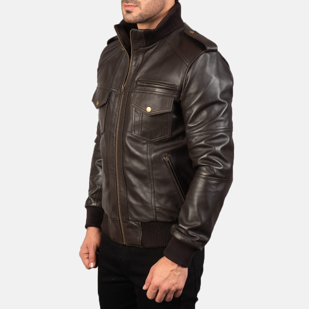 Men's Agent Shadow Brown Leather Bomber Jacket 2
