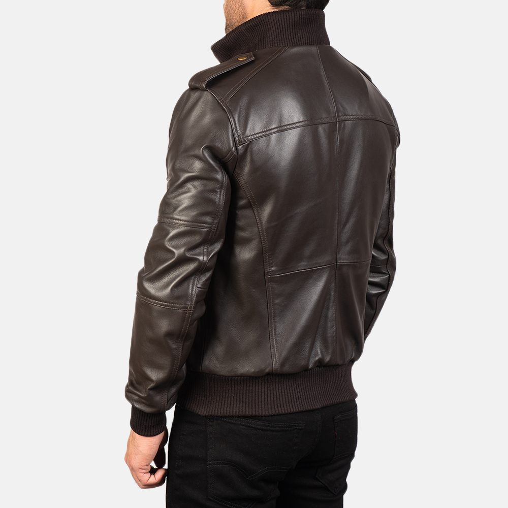 Men's Agent Shadow Brown Leather Bomber Jacket 5