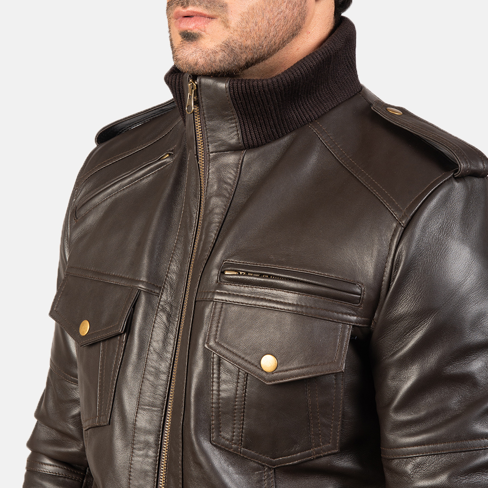 Men's Agent Shadow Brown Leather Bomber Jacket 6