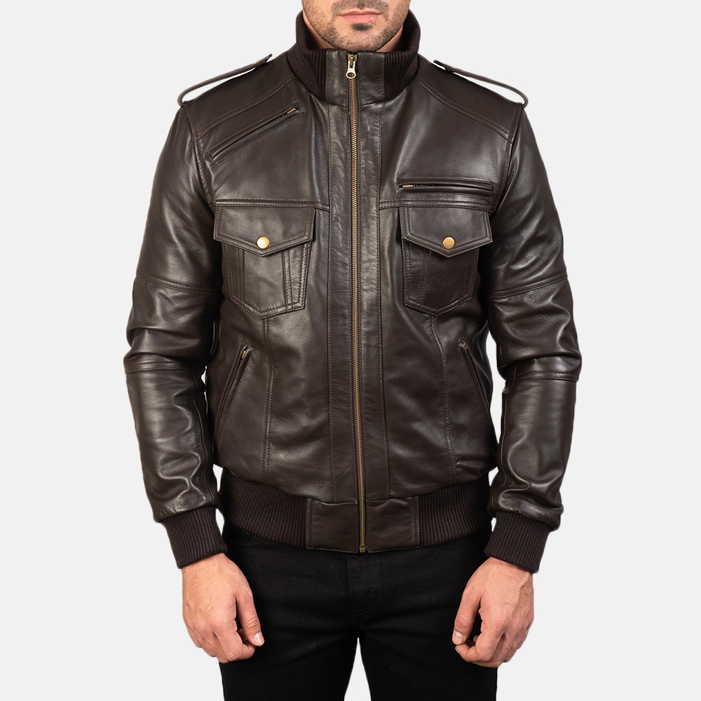 Men's Agent Shadow Brown Leather Bomber Jacket 4