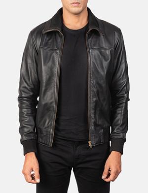 Men's Air Rolf Black Leather Bomber Jacket