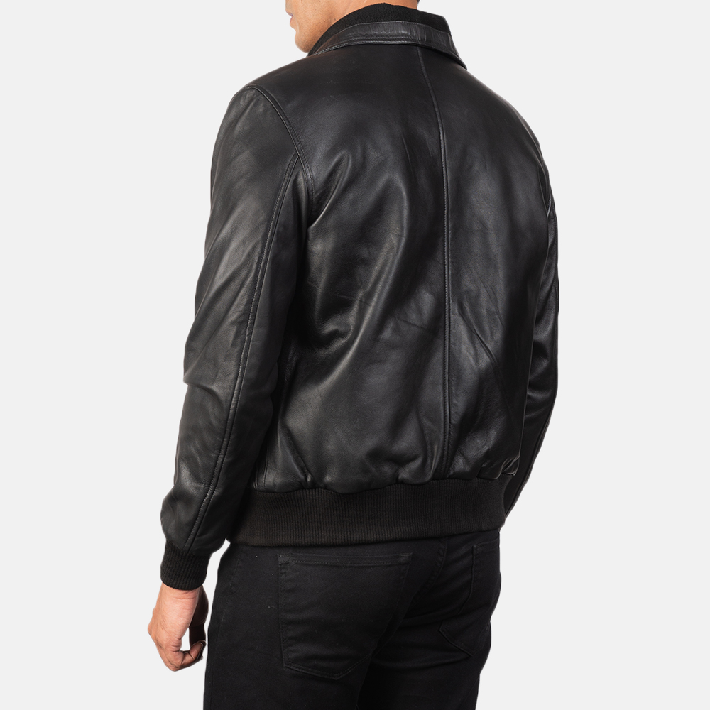 Men's Air Rolf Black Leather Bomber Jacket