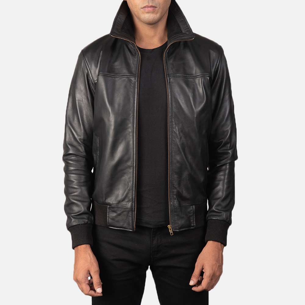 Air Rolf Black Leather Bomber Jacket