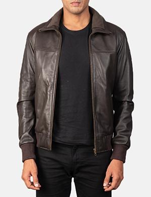 Men's Air Rolf Mocha Brown Leather Bomber Jacket