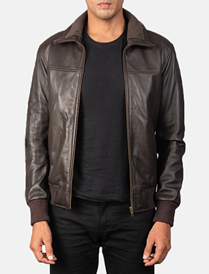 Men's Air Rolf Mocha Brown Leather Bomber Jacket