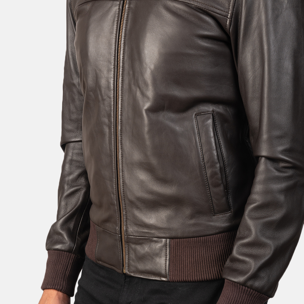 Men's Air Rolf Brown Leather Bomber Jacket