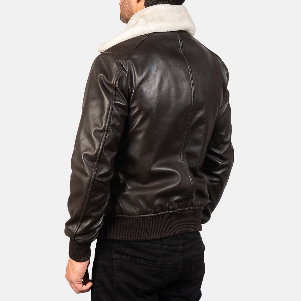 Men's Airin G-1 Brown Leather Bomber Jacket 5