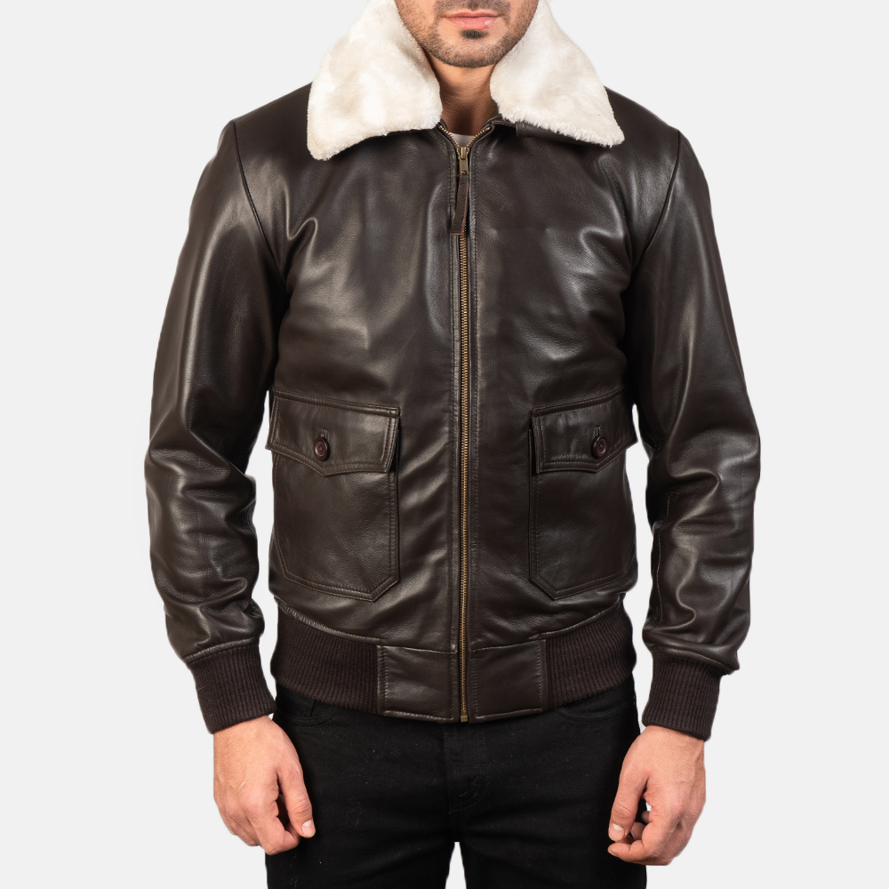 Men's Airin G-1 Brown Leather Bomber Jacket 4