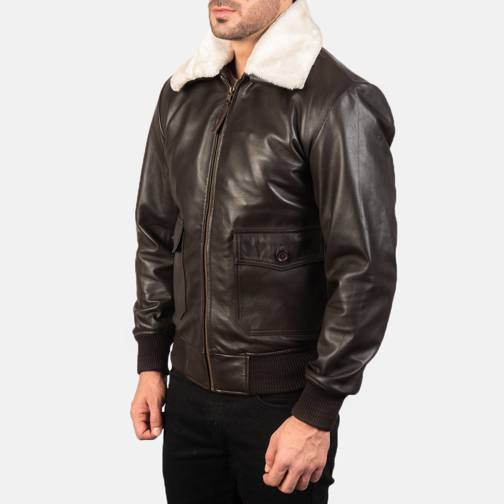 Men's Airin G-1 Brown Leather Bomber Jacket 2