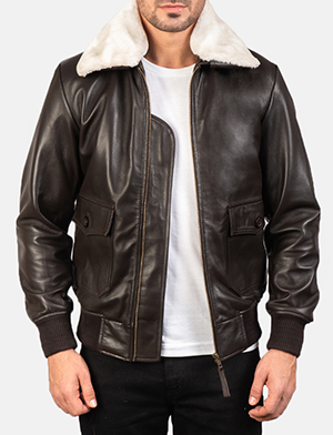 Men's Airin G-1 Brown Leather Bomber Jacket