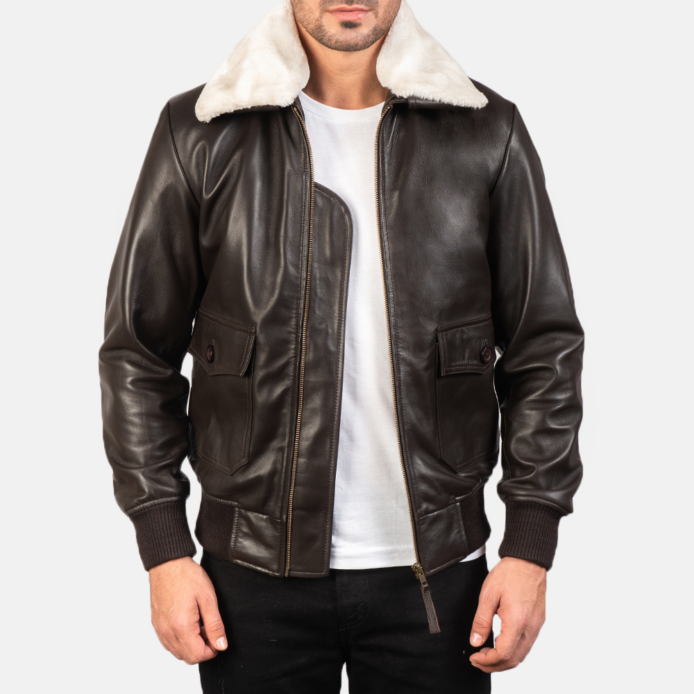 Men's Airin G-1 Brown Leather Bomber Jacket 3