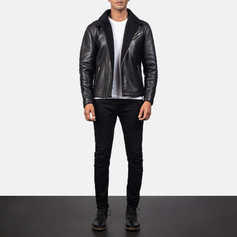 Men's Alberto Shearling Black Leather Jacket 1