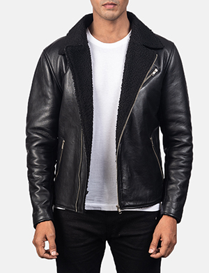 Men's Alberto Shearling Black Leather Jacket