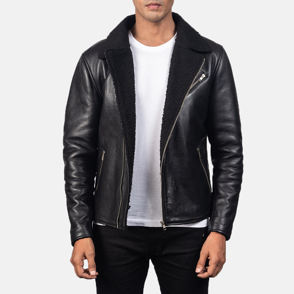 Men's Alberto Shearling Black Leather Jacket 3