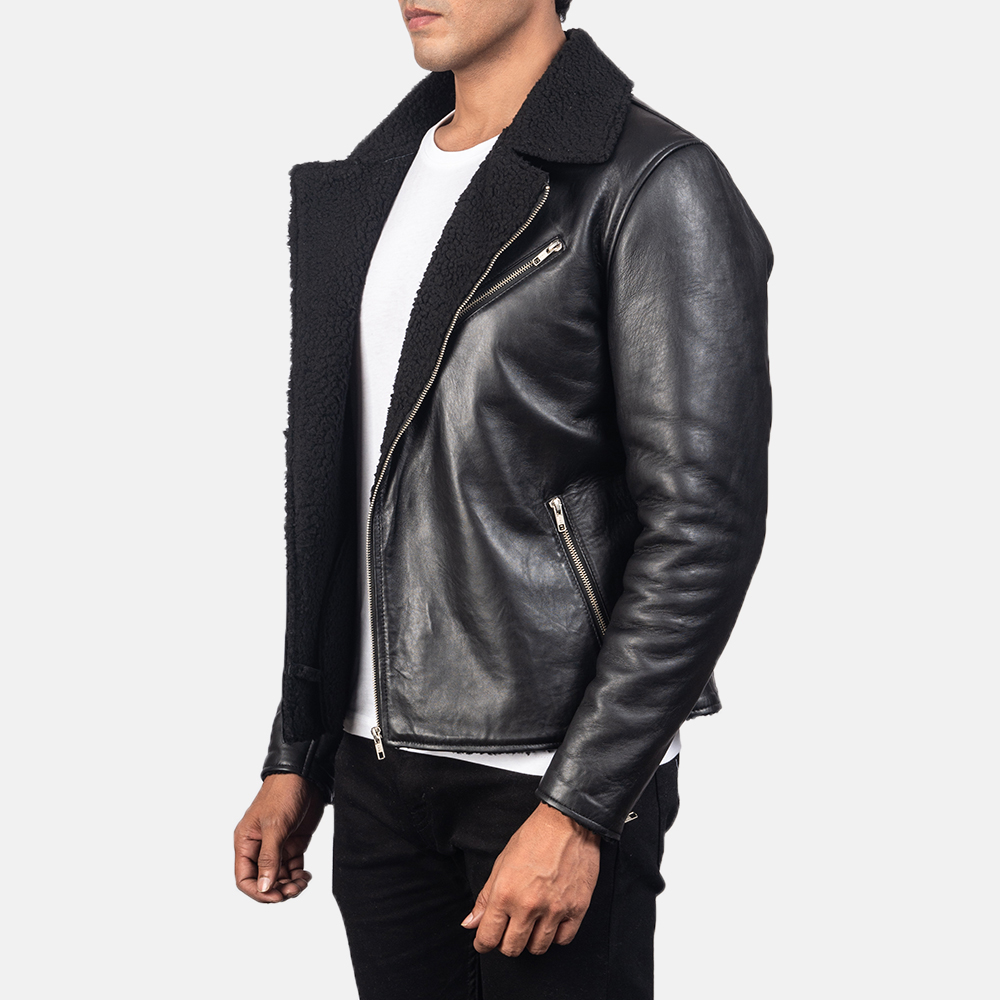 Men's Alberto Shearling Black Leather Jacket 2