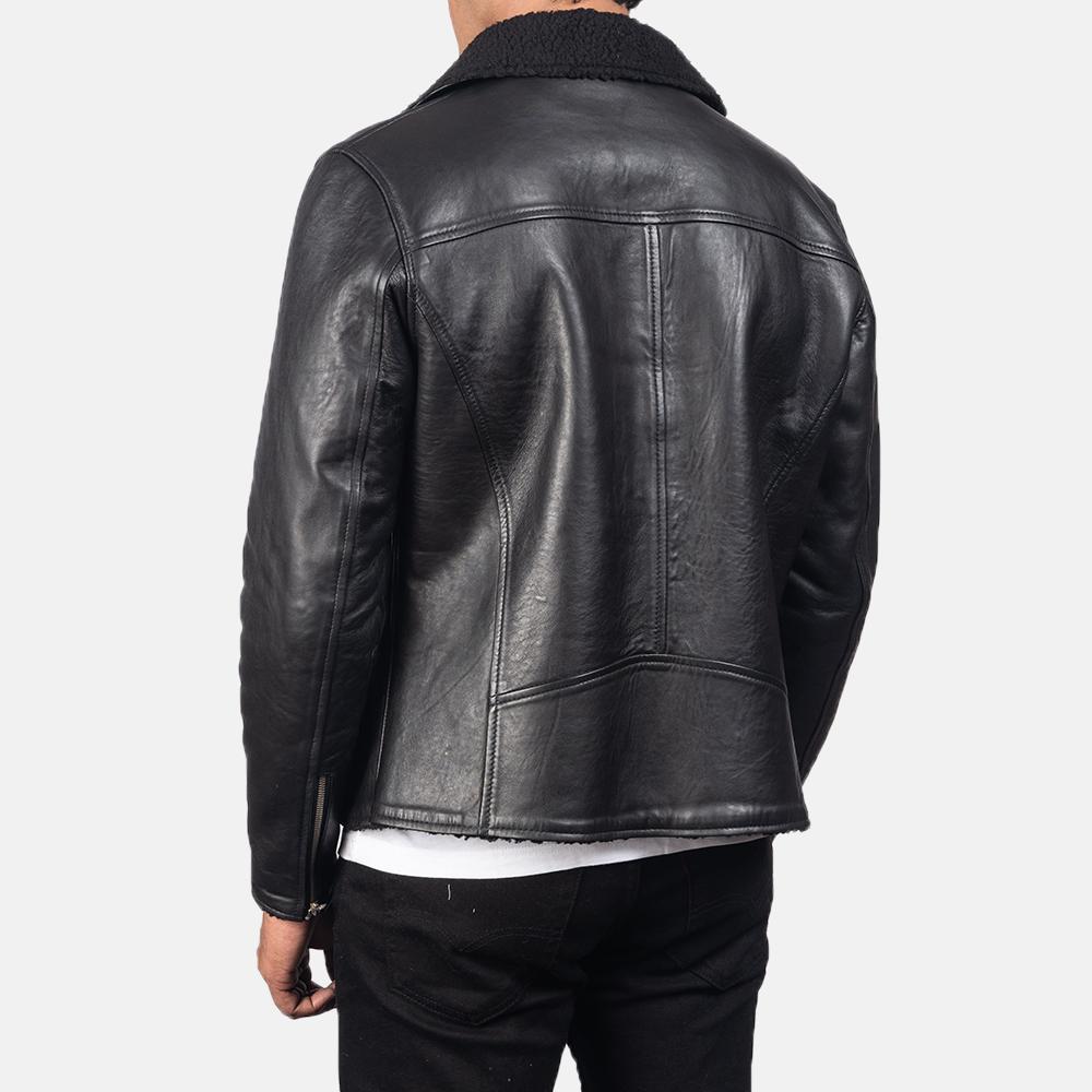 Men's Alberto Shearling Black Leather Jacket 5