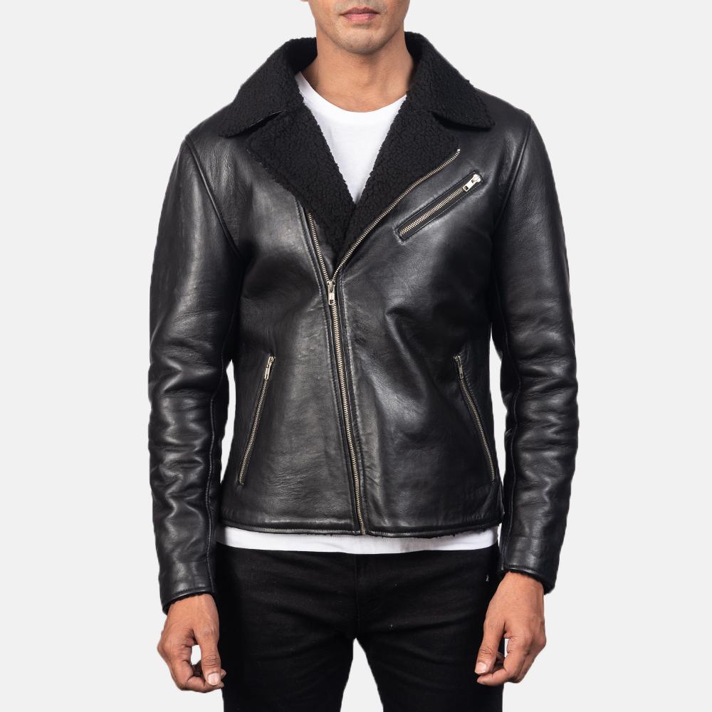 Men's Alberto Shearling Black Leather Jacket 4