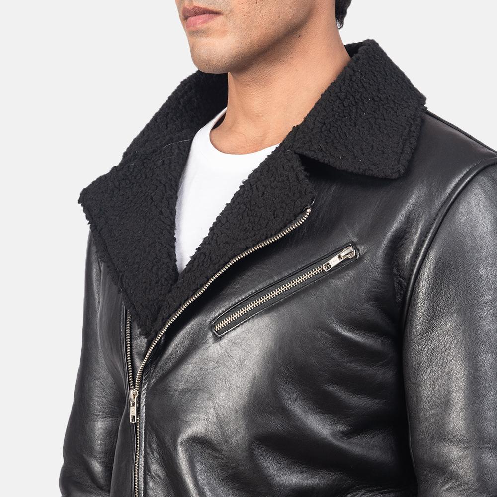 Men's Alberto Shearling Black Leather Jacket 6