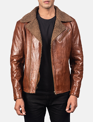 Men's Alberto Shearling Brown Leather Jacket