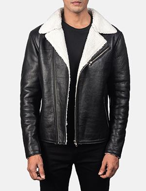Alberto White Shearling Black Leather Jacket