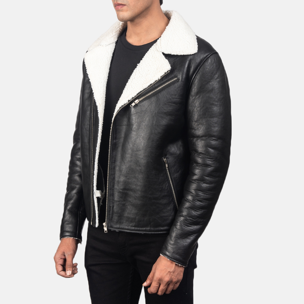 Men's Alberto White Shearling Black Leather Jacket