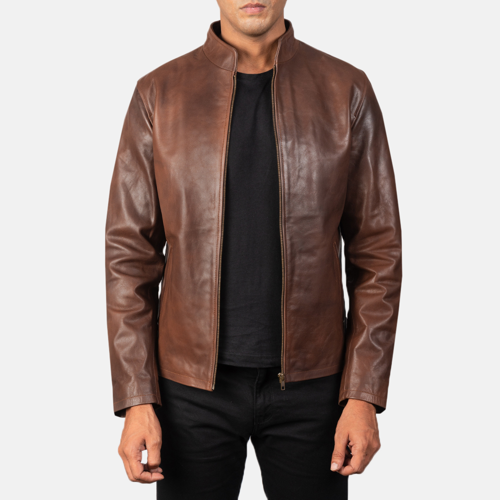 Men's Alex Brown Leather Biker Jacket