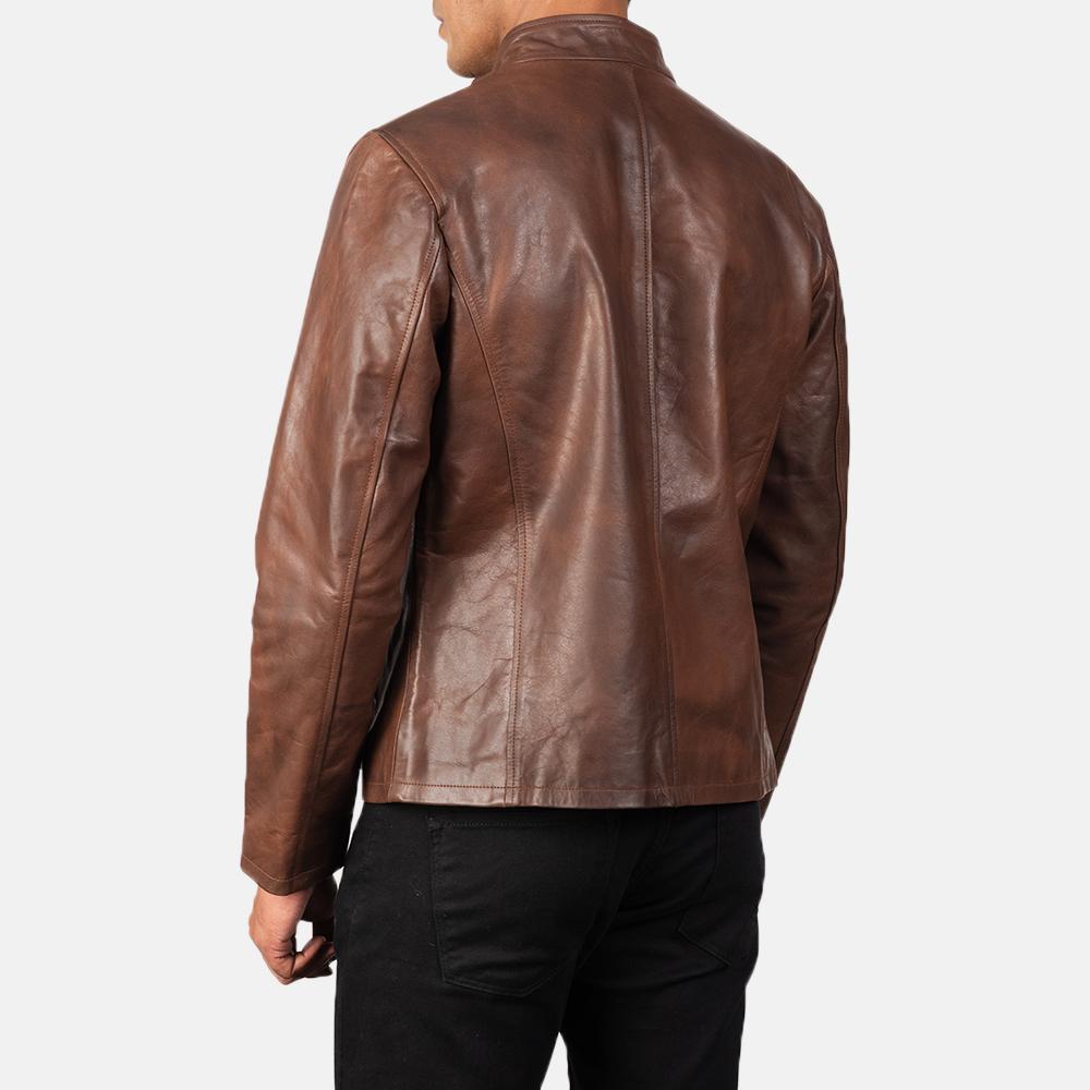Men's Alex Brown Leather Biker Jacket