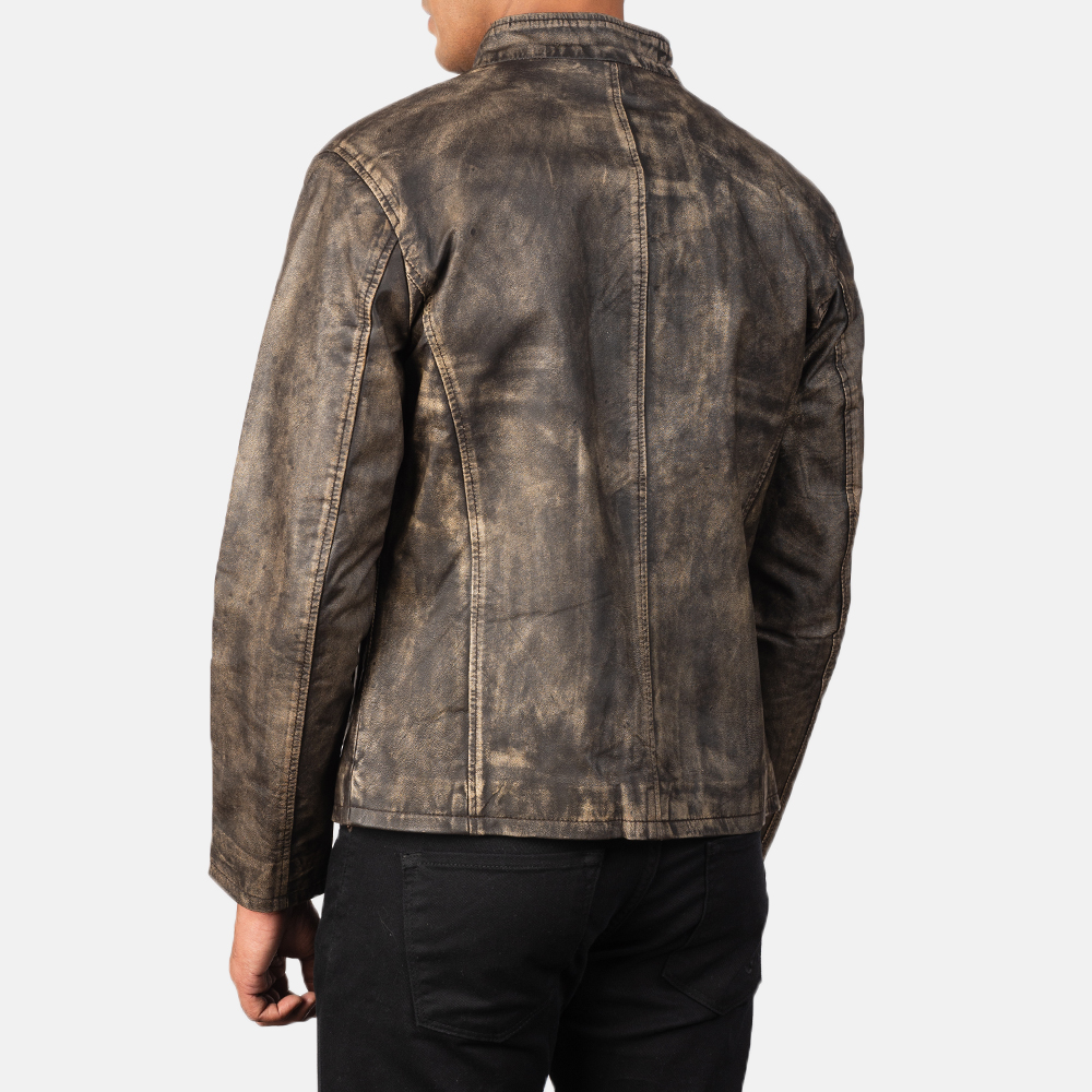 Men's Alex Distressed Brown Leather Biker Jacket