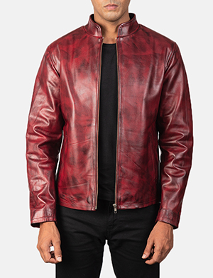 Men's Alex Distressed Burgundy Leather Biker Jacket