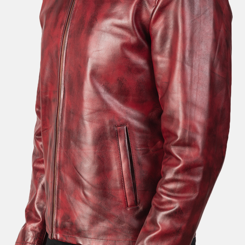 Men's Alex Distressed Burgundy Leather Jacket