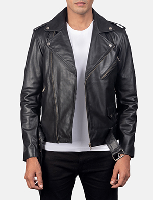 Mens Allaric Alley Black Leather Biker Jacket