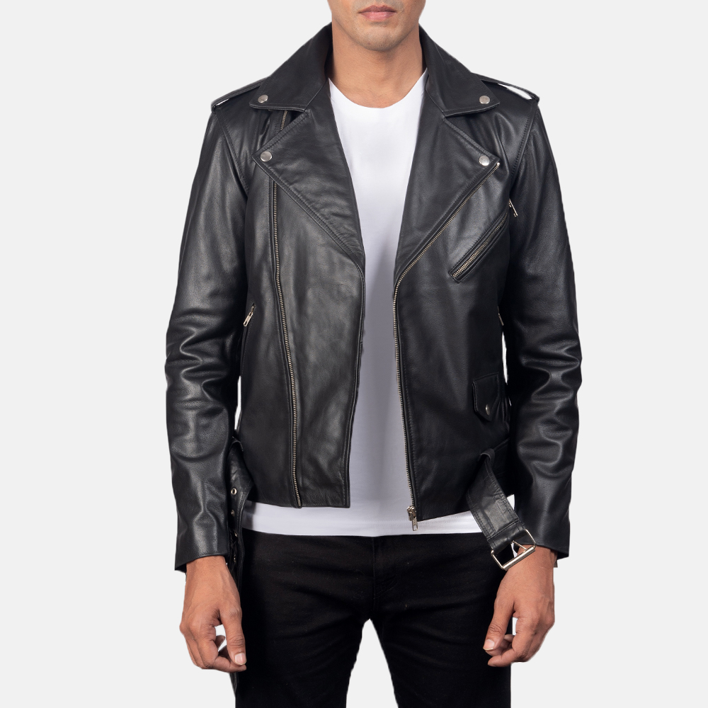 Men's Allaric Alley Black Leather Biker Jacket