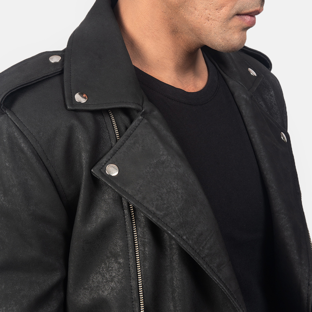 Men's Allaric Alley Distressed Black Leather Biker Jacket 6