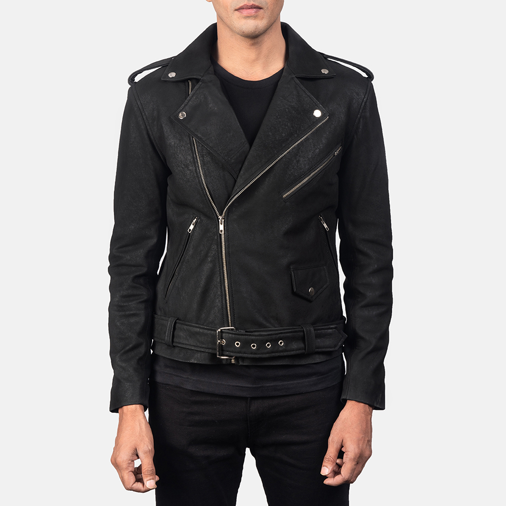 Men's Allaric Alley Distressed Black Leather Biker Jacket