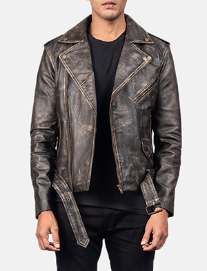 Allaric Alley Distressed Brown Leather Biker Jacket