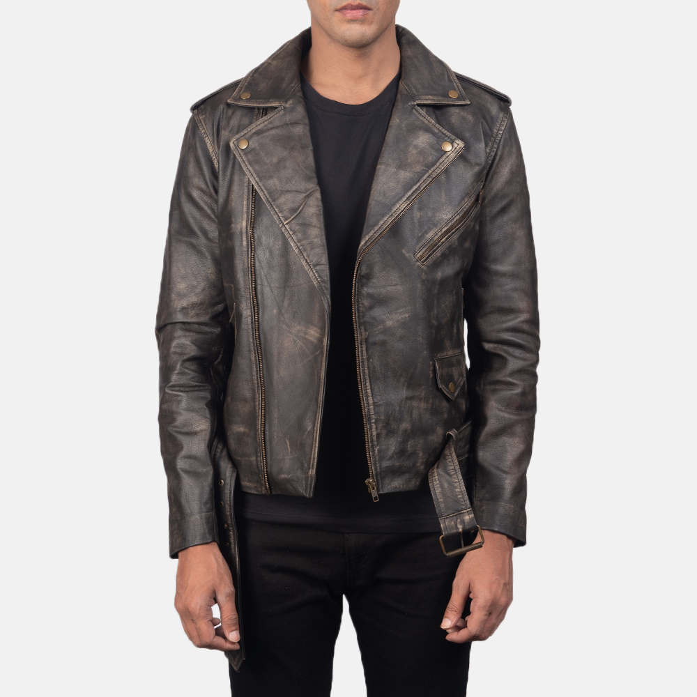Men's Allaric Alley Distressed Brown Leather Biker Jacket