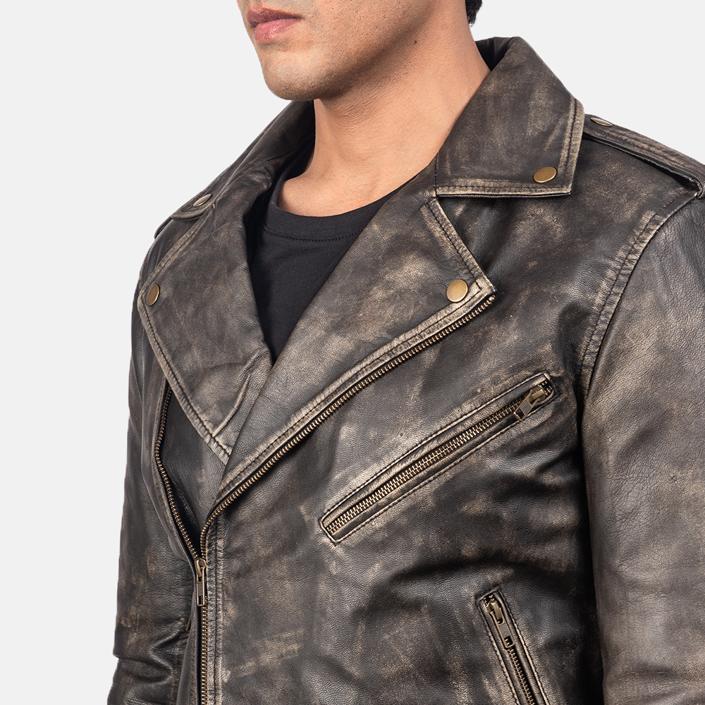 Men's Allaric Alley Distressed Brown Leather Biker Jacket 6