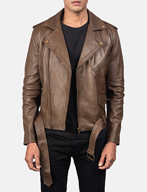 Mens Allaric Alley Mocha Leather Biker Jacket