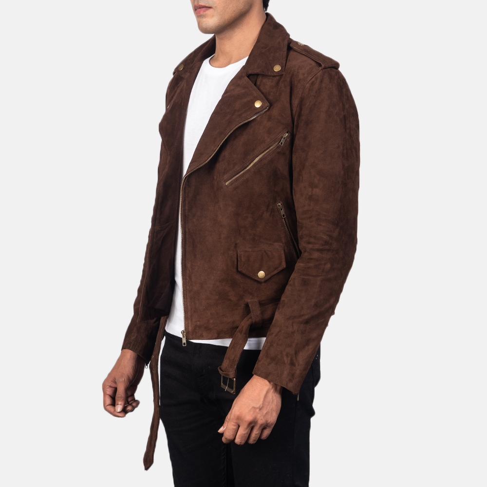 Men's Allaric Alley Mocha Suede Biker Jacket