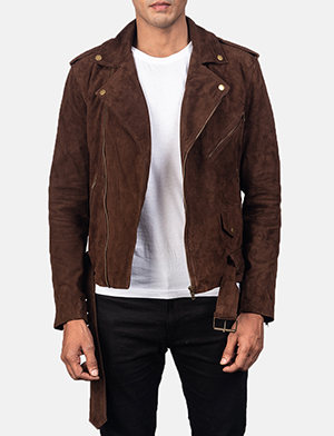 Men's Allaric Alley Mocha Brown Suede Biker Jacket