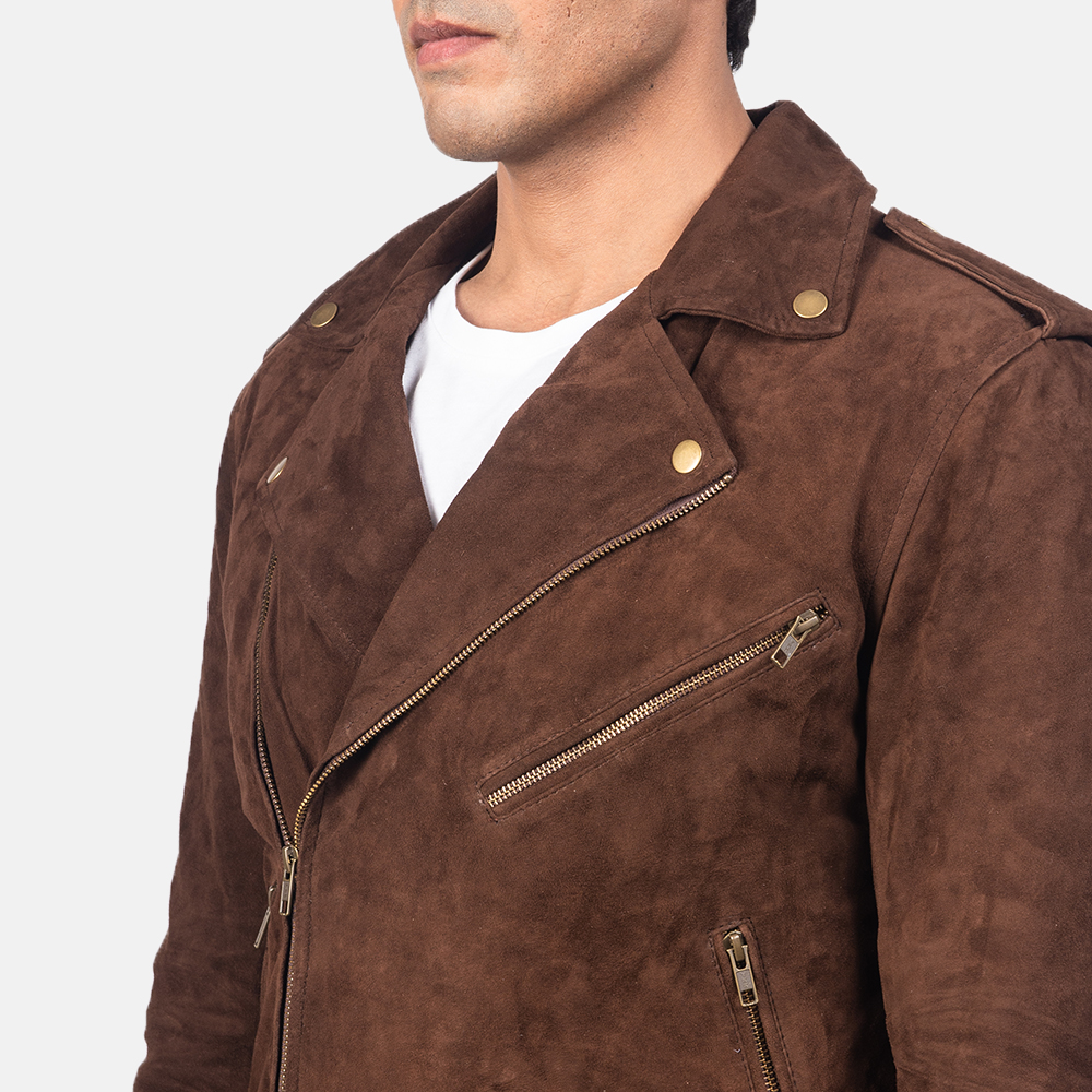 Men's Allaric Alley Mocha Brown Suede Biker Jacket 6
