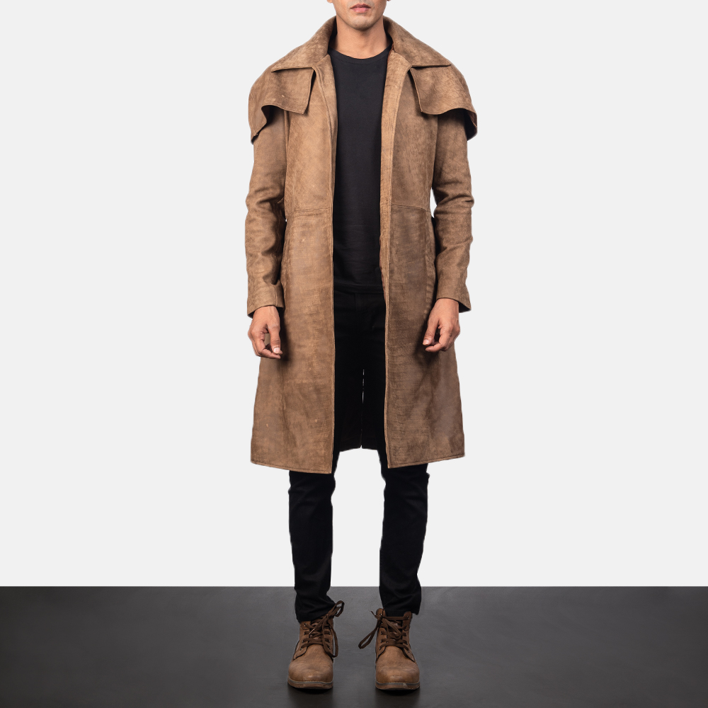 Men's Army Brown Leather Duster