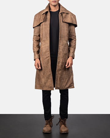 Men's Classic Brown Leather Duster 1